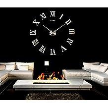 MZDZR Creativa DIY reloj acrílico Roma Digital espejo reloj de pared adhesivo reloj artística decoración decoración casa decoración de la pared , silver