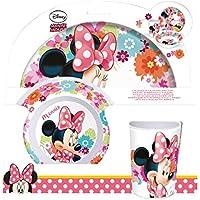 P:os 21707 - Set de desayuno (3 piezas: plato, cuenco y vaso), diseño de Minnie Mouse