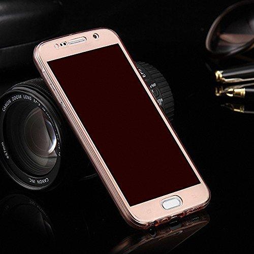 König-Shop Full TPU Case für Samsung Galaxy E5 Handy-Hülle Schutz-Cover Bumper Schale Pink Rahmen Cover 360