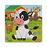 """FriendGG Jigsaw Toys,Wooden Cartoon Dairy Cow Jigsaw Toys Best Birthday Present Gift for Kids Boys&Girls Toddlers Early Education And Learning Animals Puzzles Toys (Wood, Size:14.7cmx14.7cm/5.8""""x5.8"""")"""