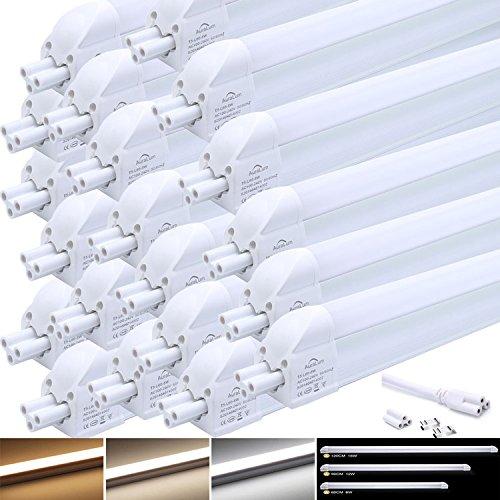 20 Stü LED Leuchtstofflampe, Auralum T5 G5 120CM lang 16W 1550LM Röhre Leuchtstoffröhre mit Fassung, tageslichtweiß (4000-4500K)