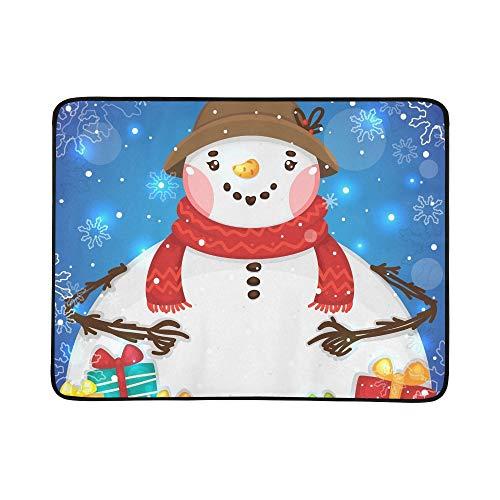 WYYWCY Nette weibliche Schneemann-Geschenk-Vektor-Muster-tragbare und Faltbare Deckenmatte 60x78 Zoll-handliche Matte für kampierenden Picknick-Strand