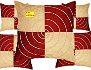 FAB NATION Designer Embroidery Cushion Covers - 16x16 inches, Pack of 5, Red & C