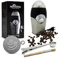 HomeElite | Molinillo de Café Eléctrico| Incluidos: brocha de limpieza + cucharas + paquetes
