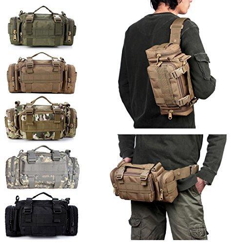 Yihya Multifunktionale Nylon e Tasche Messenger Bag Überfall Rucksack für Outdoor Sports Abenteuer Klettern & Reiten Reisetasche Schultertasche Gürteltasche-Armeegrün