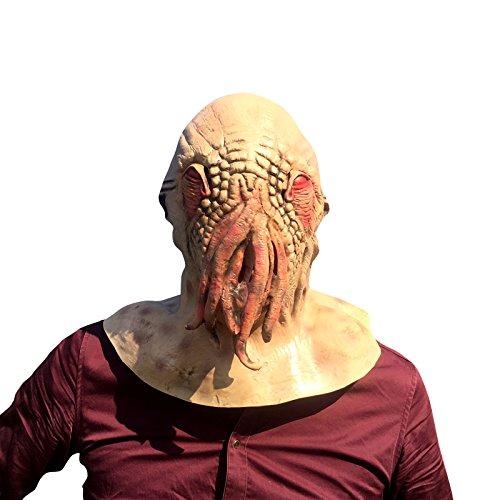 Doctor Who Octopus Krake Kraken Maske mask Kopf aus sehr hochwertigen Latex Material mit Öffnungen an Augen Halloween Karneval Fasching Kostüm Verkleidung für Erwachsene Männer und Frauen Damen Herren gruselig (Who Dr Kostüme)