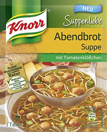 Knorr Suppenliebe Abendbrot Suppe mit Tomatenklößchen, 3 Teller, 15er Pack (15 x 47 g)