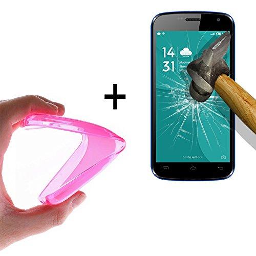 WoowCase | Flexible Gel Schutzhülle für [ Doogee X3 ] [ +1 Schutzglas ] Hartglas, Doogee X3 Hülle Case TPU Silikon in Rosa