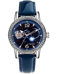 Time100 W80089L.10AN- Reloj para mujeres Reloj mecánico de constelación capricornio correa de cuero color azul claro