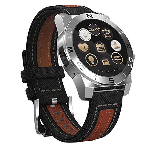 Fitness Tracker Bluetooth Sport Reloj inteligente Pantalla táctil Monitor de ritmo cardíaco Brújula Monitor de sueño Cámara a prueba de agua Control remoto para iOS Reloj unisex para Android,Silver