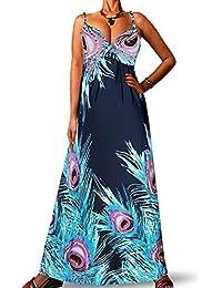 Robe Longue Femme Angela Rope - Bleu marine Paon, 36-38