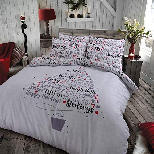 Clicktostyle new xmas christmas festive set copripiumino in policotone con di biancheria da letto, christamas slogan, singolo