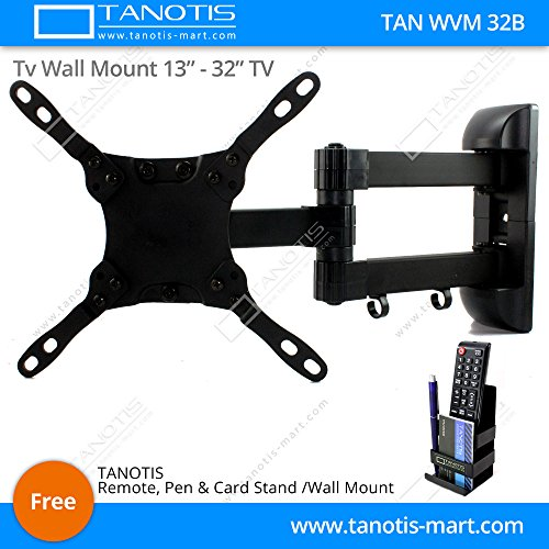 "Tanotis Imported 6 Way Swivel Tilt TV Wall mount for LCD/LED TV's upto 13"" to 32"" inch TAN WVM 32B + Free TANOTIS Remote Stand TAN ACC RMS"