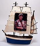 Metall Rahmen Schiff Vorderseite blau Bilderrahmen Nostalgie 29 cm maritim Segelschiff