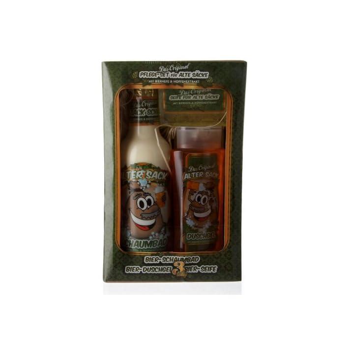 Lustapotheke® 3-teiliges Geschenkset für Männer - Bier Spa - für Alte Säcke - Schaumbad, Duschgel, Handseife
