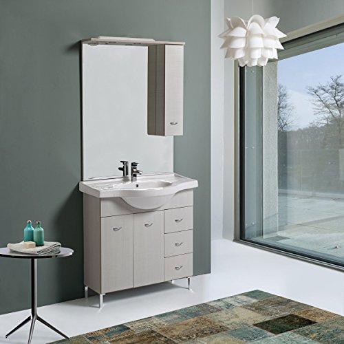 Mobile bagno da 105 cm perla con lavabo specchio e pensile