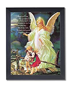 Ange gardien Poème enfants Tableau noir chevalet religieux Affiche encadrée