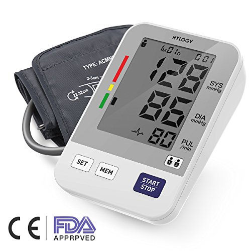 Oberarm-Blutdruckmessgerät, HYLOGY Digitales Blutdruckmessgerät Automatische BP Monitor und Pulsmessung, Standard-Manschette (22cm - 32cm), Großbild-Display und 2 Benutzer-Modus 2 * 90 Speicher (Weiß)