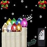 Hengda® 30X Kabellose LED Weihnachtskerzen RGB Lichterkette Bunt Beleuchtung mit Fernbedienung Batteriebetrieben
