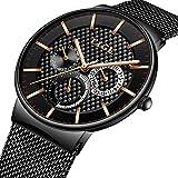Watch-LUTEM Herren Luxus Ultradünne Wasserdichte Armbanduhren Uhren Uhr mit Milanese Armband, Casual Business, Schwerelos, Qu
