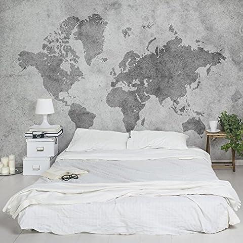 Apalis Vliestapete Vintage Weltkarte II Fototapete Breit   Vlies Tapete Wandtapete Wandbild Foto 3D Fototapete für Schlafzimmer Wohnzimmer Küche   grau, 94848