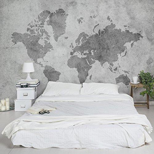 Apalis Vliestapete Vintage Weltkarte II Fototapete Breit | Vlies Tapete Wandtapete Wandbild Foto 3D Fototapete für Schlafzimmer Wohnzimmer Küche | grau, 94848 (Stoff Poster Weltkarte)