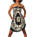 H112 Damen Sommer Aztec Bandeau Bunt Tuch Kleid Tuchkleid Strandkleid Neckholder, Farben:N-6217 schwarz;Größen:Einheitsgröße