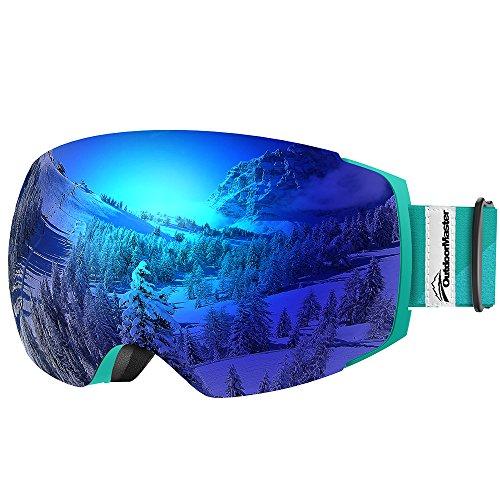 OutdoorMaster Skibrille Pro für Damen&Herren, Snowboardbrille mit magnetisch wechselsystem, OTG Schneebrille, Ski Goggles(Blaugrüner Gurt VLT 15% Blaue Gläser&Schutzhülle)