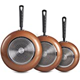 VonShef 3 pc Copper Aluminium Frying Pan Set - Cookware Set Includes 20