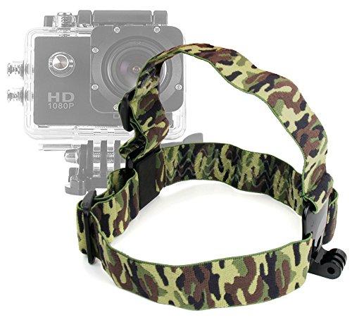 Harnais camouflage de fixation frontale pour tête/casque pour Excelvan TC-DV6, TC-Y8, TC-J6, TC-Q5, Q6 et Eyes GO - caméra d'action - DURAGADGET