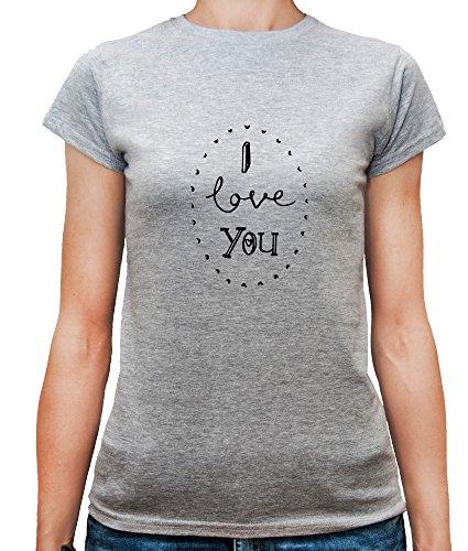 Mesdames T-Shirt avec I love You Cute Slogan Phrase imprimé. Gris