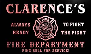 qy094-r Clarence's Fire Fighter Department Firemen Bar Neon Light Sign