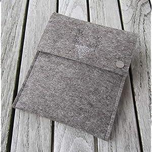 zigbaxx eReader Hülle WOOD STAR Case Sleeve Filz u.a. für Kindle Paperwhite Oasis 2/2017/2018 Voyage - Schutzhülle aus 100% Wollfilz pink schwarz beige grau braun Geschenk Weihnachten Geburtstag