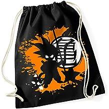 Son Goku/Dragon Ball Super/Super saiyajin/kakarott/Gamer Bag/100% algodón Turn Bolsa con texto impreso y diseño/UNI Size, Onesize, regalo ideal/Unisex/mochila, bolsa, yute Tasch, yute Bolsa/Hipster Fashion/vanverden, color Black (Schwarz), tamaño talla única