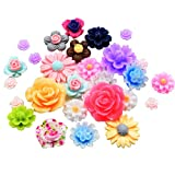 #4: Imported 50Pcs Assorted Colors Size Resin Rose Flower Flatback Cabochons