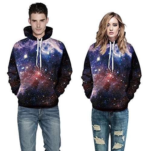 Herren Digitaldruck Kapuzenpullover Tops Fashion Hoodie Pullover Hooded Sweatshirt Dunkle Galaxie