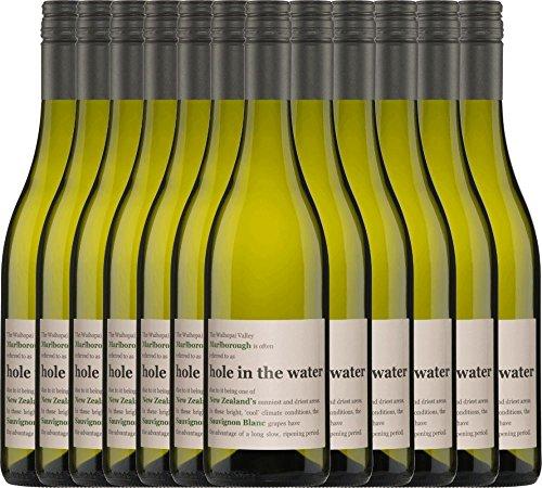 12er Paket - Hole in the Water Sauvignon Blanc Marlborough 2018 - Konrad Wine   Sommerwein   Partywein   trockener Weißwein aus Neuseeland   12 x 0,75 Liter