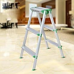 GAOJIAN Pieghevole Scaletta in alluminio Sgabello pieghevole multifunzionale largo pedale scaletta per uso domestico Sedia sgabello scala, portata massima 100 kg 3 Step Ladder
