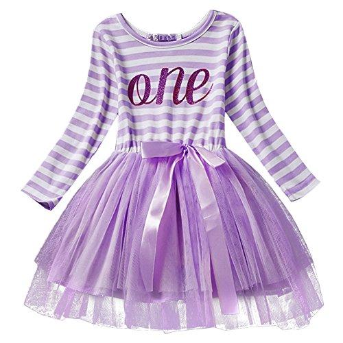 gs kleinkind Baby Mädchen Ist es Mein 1. / 2. / 3. Geburtstags Gestreiften Tüll Tütü Prinzessin Kleid mit Bowknot Partykleid Fotoshooting Outfits Kostüm Violett (Mickey Mouse Tutu Kostüm)