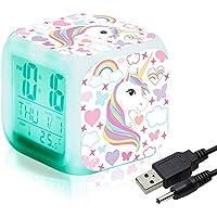 Unicornio Relojes de alarma digitales para niñas, LED de noche que brilla intensamente Reloj LCD con luz para niños Despertar Reloj de cabecera Regalos de cumpleaños para niños Mujeres Dormitorio (7)