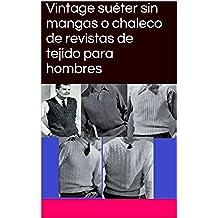 Vintage suéter sin mangas o chaleco de revistas de tejido para hombres