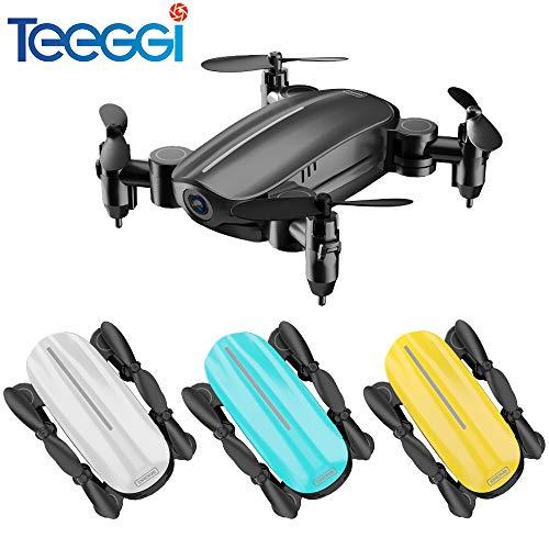 Teeggi T10 Mini-Drohne mit HD-Kamera Live-Video FPV-Geste Selfie, Faltbare Micro Pocket Drohne für Kinder und Anfänger, RC Quadcopter mit App-Steuerung, Höhenlage, 3D-Flips, Headless-Modus (SCHWARZ)