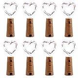 Qedertek Flaschen-Licht Kaltweiß 8 Stück 20 LED Weihachten Lichterkette Weinflasche Mini Kupferdraht, Batterie Sternenlichter für Flasche DIY (Kommen mit 6 Stück Ersatzbatterie)