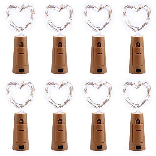 【8 Stück】Qedertek 20 LED 2M Flaschenlicht Weiß, Batteriebetriebene Lichterkette für Flasche, Flaschenlichterkette Korken, Bottle Light für Hochzeit, DIY, Party, Romantische Deko,Weihnachten -