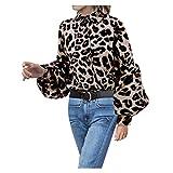 Camicetta Donna Top Donna Camicie Stampa Leopardo Manica Lanterna Taglie Forti Manica Lunga Mecohe