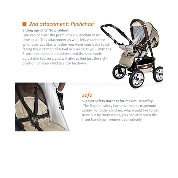 Bergsteiger Rio Combination Pram; soft changing bag; diaper bag; (10-piece mega set; 8 colours) Bergsteiger Comprehensive pram set made by Bergsteiger. This package leaves no wish unfulfilled and will be a trusty companion to you and your child from the moment your child is born. The clever design is easy to use. Thanks to its light weight and compact size, this pram will easily fit into your car. Safety comes first! With this combination pram, you are always on the safe side. The Bergsteiger pram complies with European safety standard EN1888, which specifies safety requirements regarding materials, construction and stability. Stunning colours - modern design. This Bergsteiger pram is not only extremely versatile, it is also an absolute eye catcher. The modern colour scheme and the large air tyres on chrome rims guarantee a beautiful look. 5
