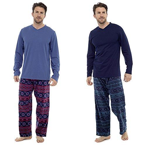 Mens Warm Jersey Oberteil & Vlies-böden Pyjama nachtwäsche pajama lounge wear Marine/Grün