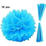 10 pz Solido Colore Carta Pom-poms Sfera per casa di Festa di Nozze Festa di Compleanno Decorazione Blue