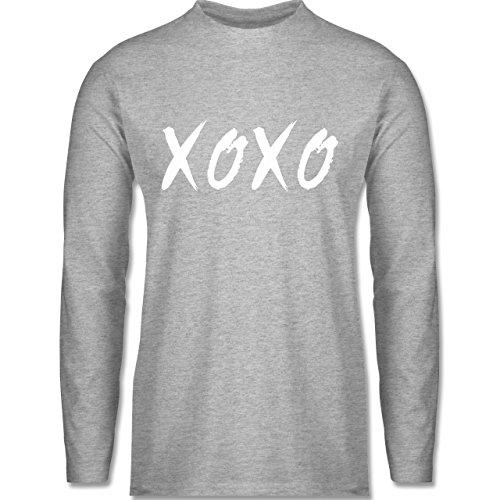 Shirtracer Statement Shirts - XOXO - Hugs and Kisses - Herren Langarmshirt Grau Meliert