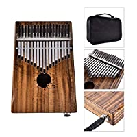 Aiyoudemutou 17 Keys Thumb Piano, Solid Mahogany Finger Instruments with Accessories Including Tuning Hammer Carrying Bag Piano Key Stickers